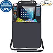 Kick Mats Car Seat Back Protector Organizer with 10.1  Tablet Holder Car Travel Accessories for Kids Baby (1 Pack)
