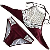 Swimsuit for Women Two Pieces High Neck Halter Lace Hollowed Out Bathing Suits Bikini Set (L, Wine)