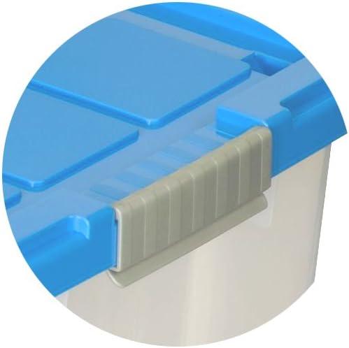 Eurobox mit Deckel und Rollen 60 x 40 x 33 cm azurblau Griffe silber