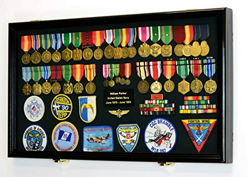 (Blue_Bright Military Award Medals Flag Pins Ribbons Patches Shadow Box Display Case Handcrafted Solid Hardwood Cabinet Large Black)