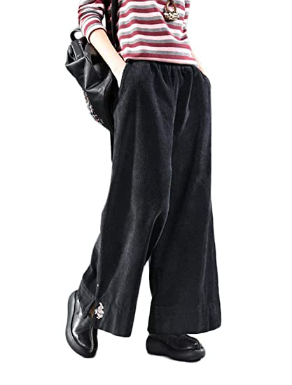 Mordenmiss Women s Corduroy Embroidery Wide Leg Pants Trouser with Pockets  (L 0210eb8882
