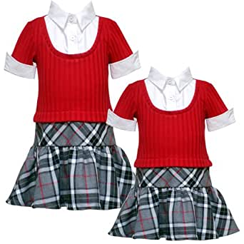 Size-6X RRE-52501F RED BLACK GRAY PLAID MOCK-LAYERED DROP WAIST 'School Girl' Dress,F752501 Rare Editions GIRLS