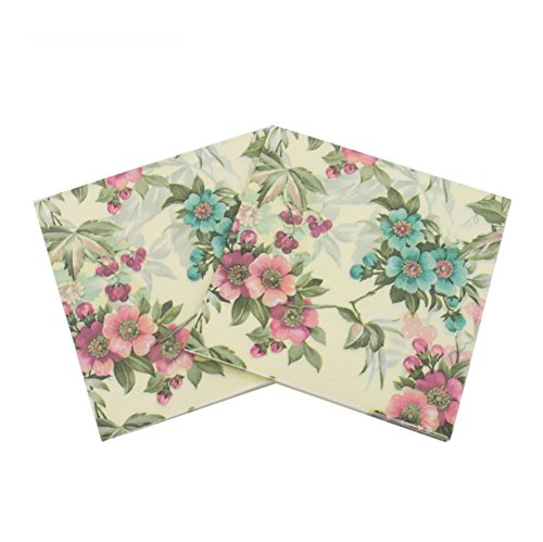 Smartcoco 20pcs Rose Paper Napkins Festive and Party Color Printing Tissue Table Decoration 13