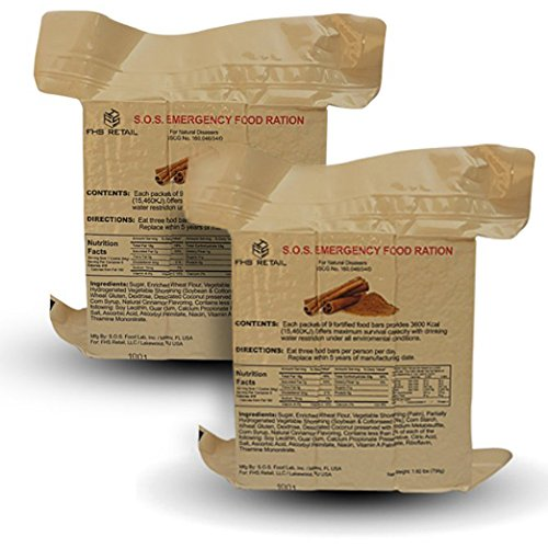 S.O.S. Rations Emergency 3600 Calorie Food Bar (Cinnamon, 2 Pack)