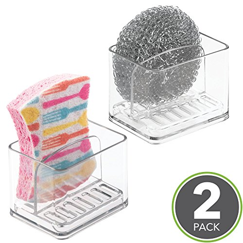 mDesign Kitchen Sink Double Holder for Sponges, Scrubbers - Pack of 2, Clear by mDesign (Image #1)