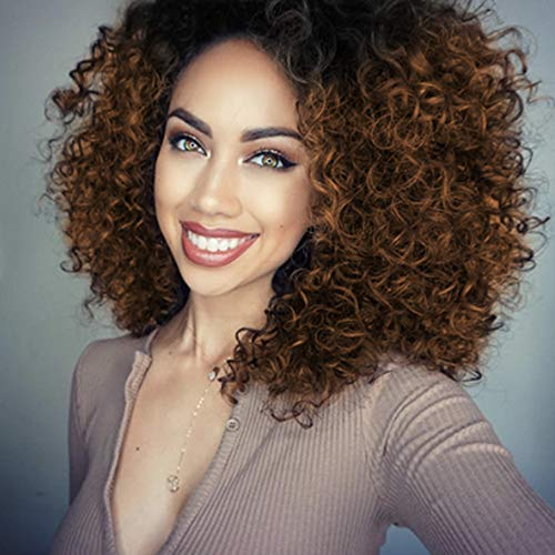 ENTRANCED STYLES Synthetic Curly Wigs for Black Women Afro Brown Wigs with Dark Roots Synthetic Full Wigs Heat Resistant - Curly Wig Layer Synthetic