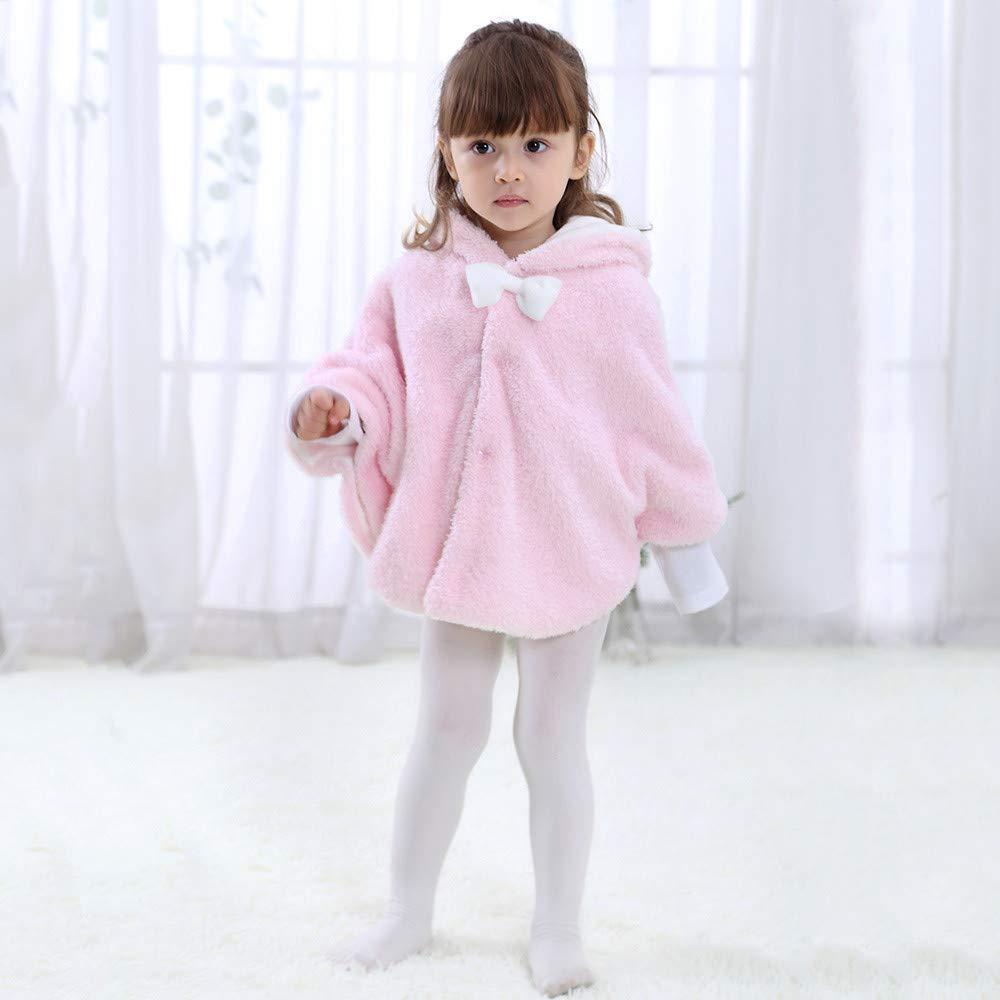 Cute Girls Keep Warm Cartoon Rabbit Ears Bowknot Hooded Coat Cloak Clothes