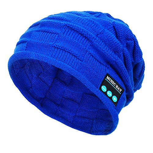 PASATO New Winter Unisex Bluetooth Wireless Smart Beanie Keep Warm Windproof Hat Handsfree Music Speaker (Blue,Free Size)