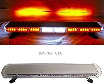 """47/"""" Amber LED Emergency Response Warn Truck Wrecker BRAKE White CARGO Light Bar"""