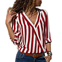 Women Striped Blouse Shirt Long Sleeve Blouse V Neck Shirts Casual Tops Blouse Red S