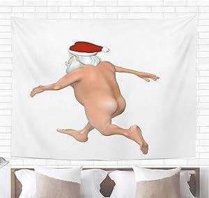 Topyee Home Decorative Tapestry Wall Hanging Christmas Santa Streaking White Bah Humbug Series Funny Crazy Naked 50