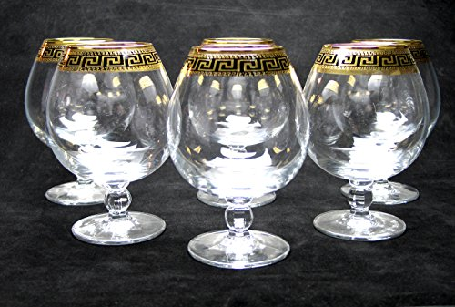 ''Cristalleria Italian Decor'' Crystal Cognac Brandy Snifter Goblet, 17 oz. Gold and Black Greek Key Ornament, Hand Made in Italy, SET OF 6 Glasses by Cristalleria Italian Decor (Image #3)
