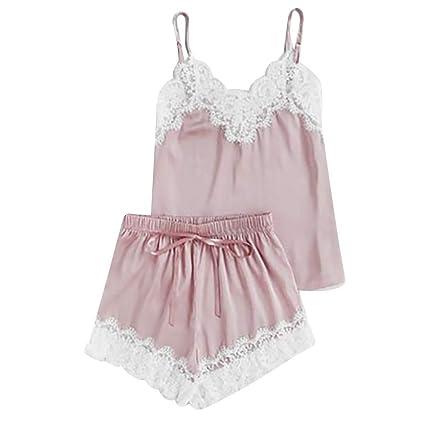 MRULIC Damen Nachtwäsche Anzug Satin Sling Pyjamas Dessous Spitze Bowknot Nachthemd Unterwäsche