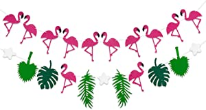 Flamingo Banner with Leaves and Pineapple Garland - No DIY Require | Pack of 2, Felt Garland | Flamingo Party Decorations | Monstera Palm Leaves | Luau Tropical Jungle Beach Safari Party Supplies