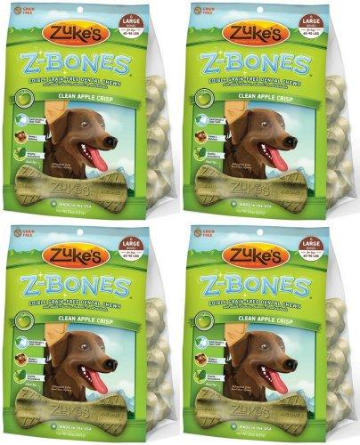 - Zukes Z-Bones Edible Dental Chews Large Apple Crisp 3.7lb 24ct(4x15oz)