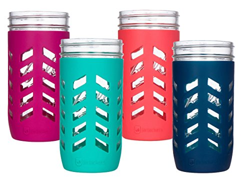 JarJackets Silicone Mason Jar Protector Sleeve - Fits 24oz (1.5 pint) Wide-Mouth Jars | Package of 4 (Multicolor)