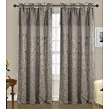 Cheap RT Designers Collection Easton Embroidered 54 x 84 in. Double Rod Pocket Curtain Panel w/ Attached 18 in. Valance, Grey