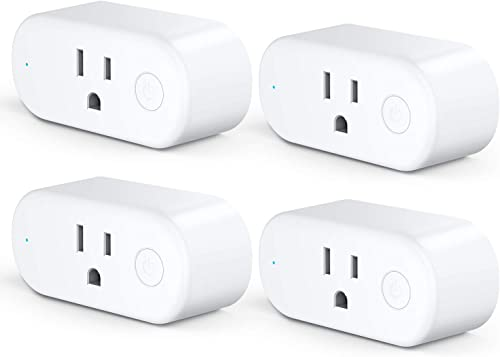 Aoycocr Timers for Electrical Outlets – WiFi Smart Plugs That Work with Alexa Google Home Assistant, Energy Monitoring and Timer Function, No Hub Required, 15 Amp, ETL Listed, 2.4 GHz Network, 4 Pack