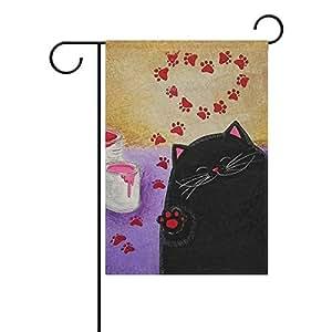Vinlin - Bandera de doble cara para jardín con diseño de huella de gato, poliéster, 12x18(in)
