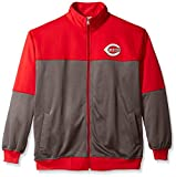MLB Cincinnati Reds Men's Poly Fleece Yoked Track Jacket with Wordmark Logo, 5X, Red/Gray