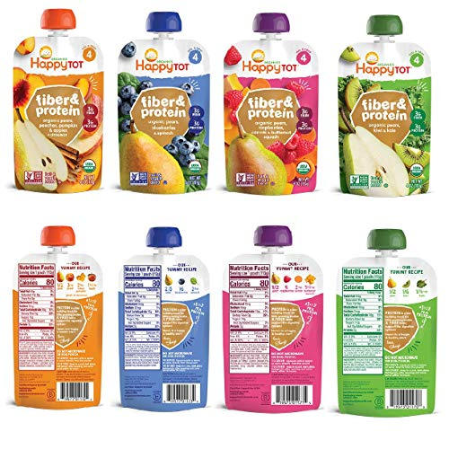 Happy Tot Organic Superfoods Fiber & Protein Stage 4 Baby Food Assortment Variety Packs 4 Flavors (Pack of 12)