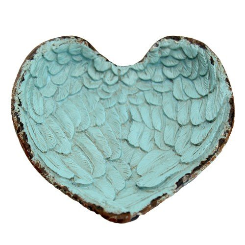 """ANGEL WINGS HEART TRAY ANTIQUE TURQUOISE 4.25x.75x4.25""""H"""