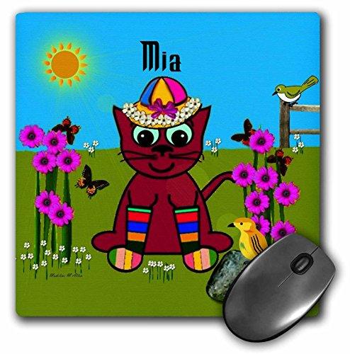 Price comparison product image 3dRose LLC 8 x 8 x 0.25 Inches Mia Decorative Smudge Art Design Cat in Rainbow Socks Pattern Mouse Pad (mp_49958_1)