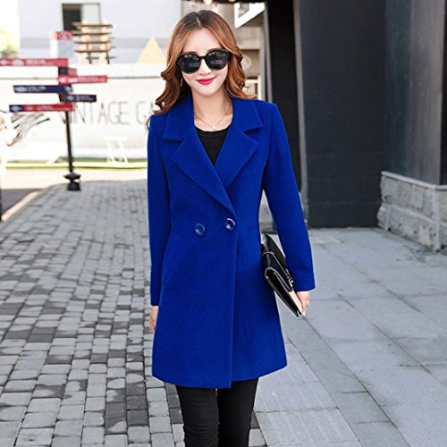 Overcoat Outwear Tianya Clothes Cashmere down Slim Turn Thicker Cardigan Coat Blue Fit Collar Parka Button Women Like Jacket 8a4rvWwC8
