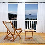 PONY DANCE Outdoor Curtain Sheer - Tab Top Water Mildew Resistant Curtains and Drapes with Free Rope Tie Back for Pergola/Patio, 54'' Wide x 108'' Long, Solid White, 1 Panel