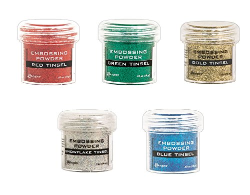 (Cardmaking: Tinsel Heat Embossing - Ranger Glitter Tinsel Embossing Powders - 5 Item Bundle)
