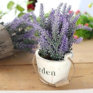 Hibery 6 Bundles Artificial Lavender Plant with Silk Lavender Flowers Lavender Bouquet for Wedding Decor, Home, Garden, Patio Decoration 2