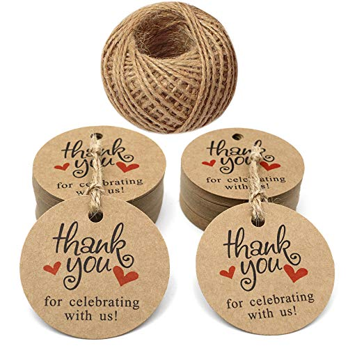 - Paper Gift Tags,Thank You for Celebrating with Us Tags,100 Pcs Round Brown Tags for Wedding Baby Shower Party Favors with 100 Feet Jute Twine