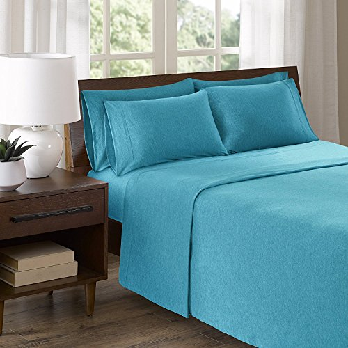 Green Foster Product 100 Percent Teal Organic Cotton Knit Sheet Set 6 Pieces | 1 Flat and 1 Fitted Sheets, 4 Pillow Cases | Ultra Soft | Premium Collection | For Men And Women | (Teal, King)