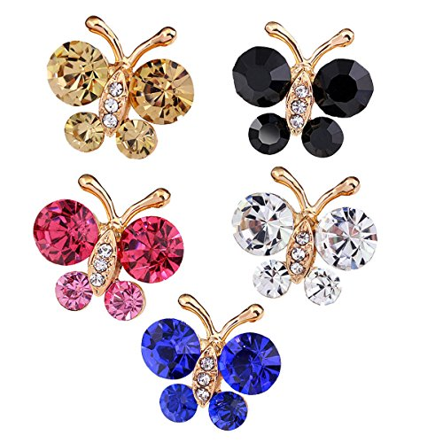 Reizteko Brooch Pin Elegant Butterfly Scarf Pin Lapel Brooch Button Hat Pin for Women's Jewelry (Pack of 5)