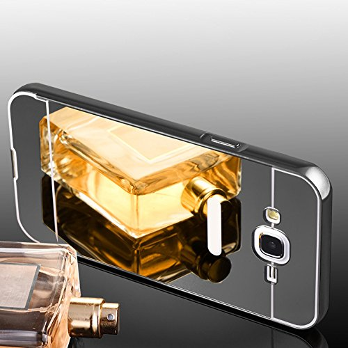 Metall Spiegel Bumper Mirror Spiegel Metall Case Cover Aluminium Bumper Case Back Cover Schutz Hülle Handy Tasche Spiegel Hülle für Apple IPhone 6 6s Plus in Dunkelgrau