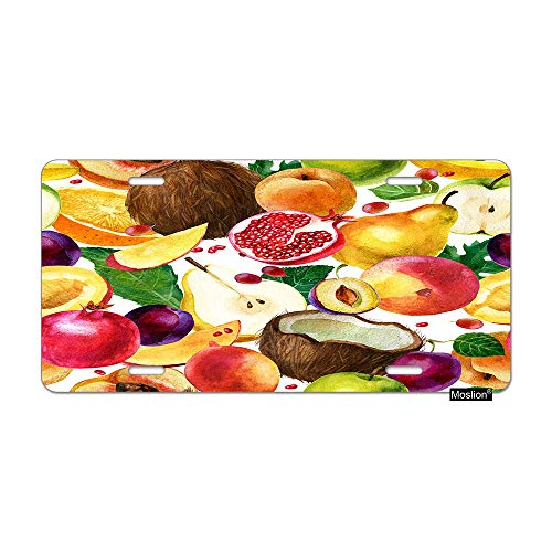 (Moslion Fruit License Plate Coconut Pomegranate Pear Apple Mango Peach Plum Orange Car Tags Aluminum Metal Custom License Plate Cover 6x12 Inch for Truck SUV)