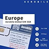 Aerobile Europe Data SIM Preloaded 3GB 30Days. Hot Spot Tethering. No Registration Required US Seller