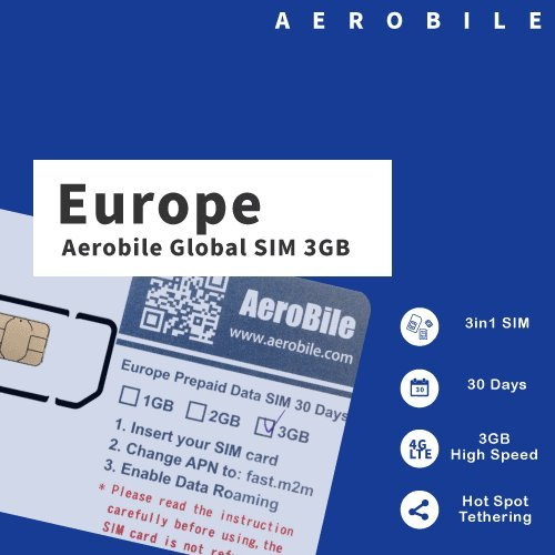 Aerobile Europe Data SIM Preloaded 3GB 30Days. Hot Spot Tethering. No Registration Required US Seller by Aerobile