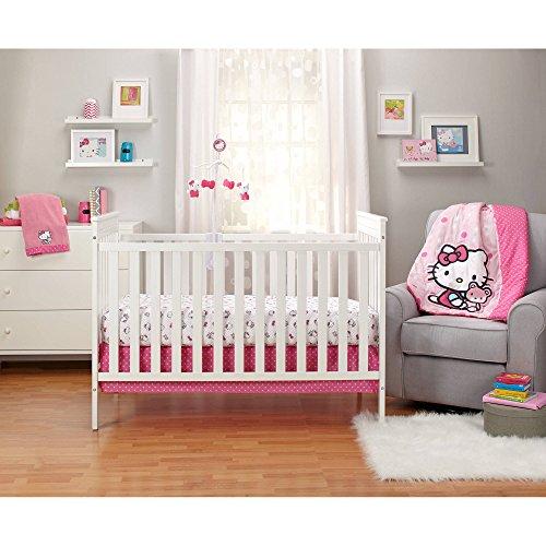 - 3 Piece Pink White Hello Kitty Baby Crib Bedding Set, Animal Themed Newborn Nursery Bed Set Infant Child Animated Cute Cats Kitten Bow Fuchsia TV Show Blanket Comforter Polka Dots, Polyester Cotton