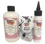 Art Institute Glitter Designer Dries Clear Adhesive Clear Glue Kit Bundle-3 items 8oz,2oz and Metal Tip