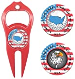 Hat Trick Openers 6-in-1 Golf Divot Tool & Poker Chip Marker Set with USA Logo, Red