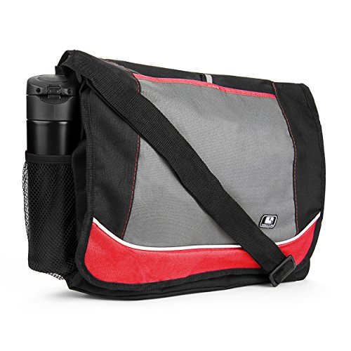 Black Red Gray Notebook Case - SumacLife Multiple Canvas Messenger Shoulder Bag Fits 14
