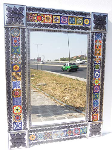 PUNCHED TIN MIRROR mixed talavera tile mexican folk art mirrors wall decoration