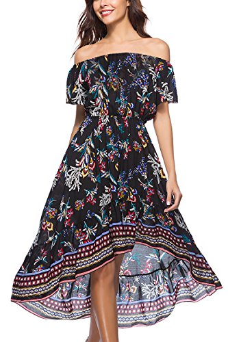 The Black Off Summer Demetory Boho Women's Waist Maxi Shoulder Flowy Floral Beach Empire Dress E6qAaqw