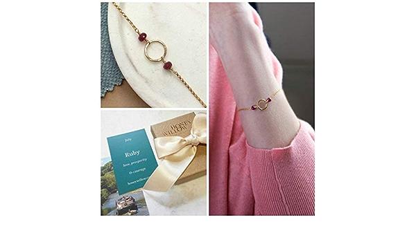 Daughter July Birthstone Stacker Bracelet Delicate Ruby Sister Ruby Bracelet Mum July Birthday Gift for Her Best Friend