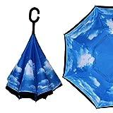 Guoke The Reverse, Double Long Handle, Men And Women Fine Umbrella Creative Car Hands-Free Oversized Anti-Bone Umbrella, White Clouds In The Blue Sky -