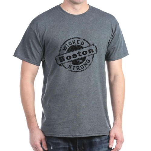 CafePress Boston Wicked Strong Dark T-Shirt - L Charcoal