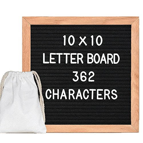 Black Changeable Felt Letter Board 10x10 Inch Wooden Message Board Sign Oak Frame with 362 White Plastic Characters more Emojis and Free Storage Bag, Wall Mounting (Sign Board)