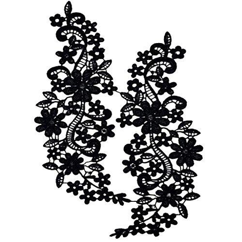 FITYLE Ausschnitt Spitzenkragen Spitzenborte Spitze Applikation Blume Spitze Kleid Applique Handwerk N/ähen Schwarz 2