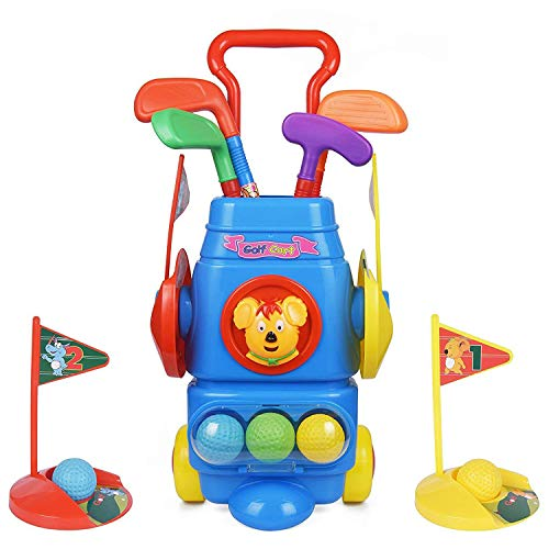 ToyVelt Kids Golf Club Set – Golf CartWith Wheels, 4 Colorful Golf Sticks, 4 Balls & 2 Practice Holes – Fun Young Golfer Sports Toy Kit for Boys &Girls – Promotes Physical & Mental Development